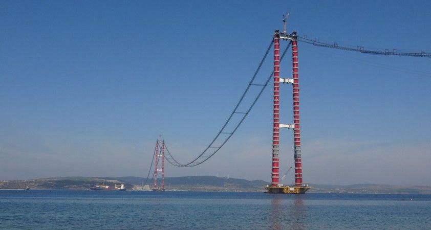 1915 Çanakkale Köprüsü'nde ana kabloların montajı tüm hızıyla devam ediyor