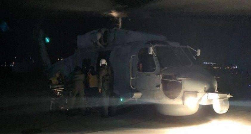 Gökçeada'da kalp krizi geçiren hastaya helikopterli tahliye