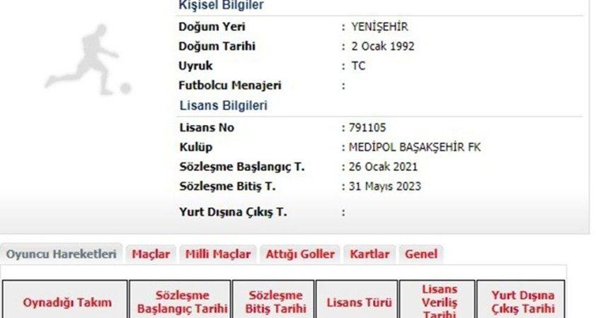 Medipol Başakşehir, yeni transferi Ömer Ali Şahiner'in lisansını çıkardı