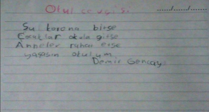 Okul hasretlerini şiirle dile getirdiler