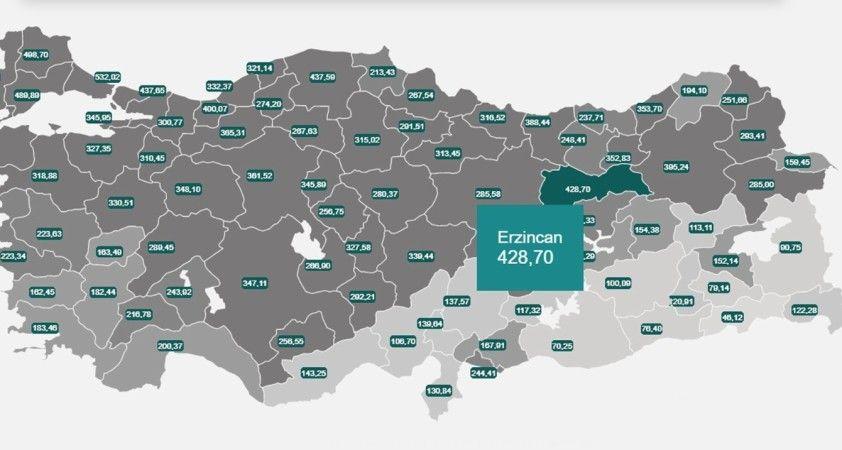 Doğu Anadolu'da vaka sayısının en yüksek olduğu il Erzincan oldu
