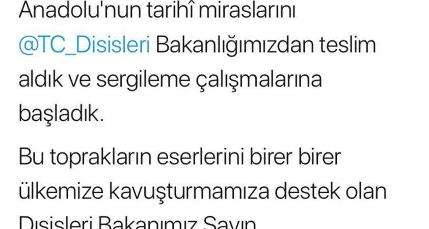 Anadolu'nun 412 eseri daha Türkiye'ye getirildi