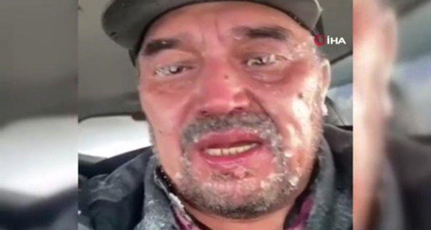 Kazakistan'da otoyolda mahsur kalan adamın kulakları dondu